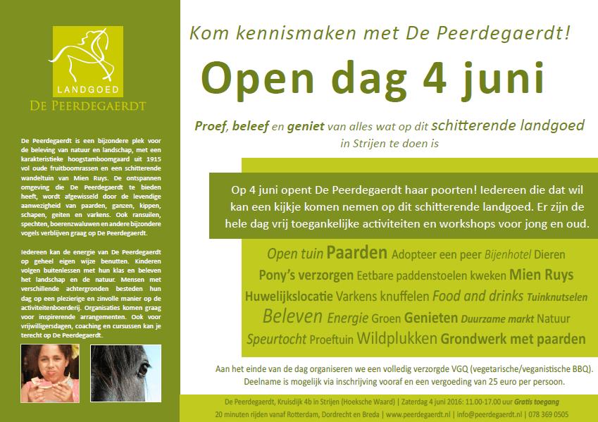Flyer open dag De Peerdegaerdt - 4 juni 2016