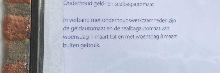 Rabobank het Haringvliet sluit pinautomaat en sealbagautomaat in Strijen week af vanwege onderhoud