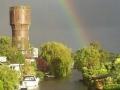 Regenboog boven de Schelpweg op vrijdag 9 mei - Foto Linda Lucas.